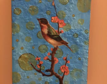 Mixed Media Art, Bird Collage, Bird Artwork