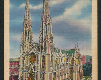New York Postcard - Vintage Colorized Post Card of St Patrick's Cathedral, New York City, NY, USA