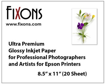 Ultra premium inkjet glossy photo paper for professional photographers and artists for Epson printers 8.5 in x 11 in (20 Sheet)