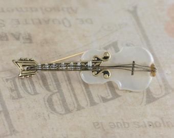 Damascene Mother of Pearl Violin Pin Brooch SPAIN // Vintage Estate Costume Jewelry // fruitsdesbois