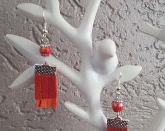 Orange suede tassel earrings