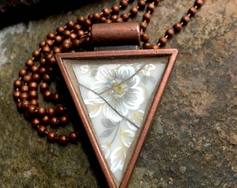 Ethereal - Mosaic Pendant, Broken Vintage China set into a Lisa Pavelka Copper Triangle Bezel - SHIPS FREE to Continental United States