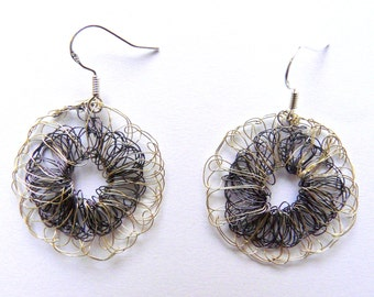 Wire crochet earrings // French handmade // Jewelry made in France // Black jewelry // Summer jewelry // Shopping jewelry // fashion jewelry