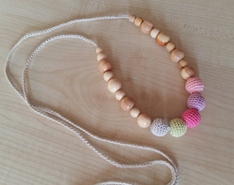 Nursing Necklace Teething necklace baby toy Crochet necklace Nursing Teething Necklace toy Breastfeeding Natural Crochet jewerly Juniper.