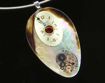 Steampunk Mother of Pearl Pendant .Vintage Jewel Watch Movement . Victorian Gothic . Watch Face - Unforgettable by enchantedbeas on Etsy