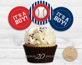 """Baseball Cupcake Toppers, 2"""" Baseball Baby Shower Cupcake Toppers, Sports Cupcake Toppers, Blue Red Baseball Pops, Instant Download 68A"""