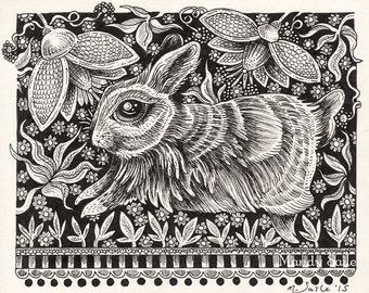 "Rabbit Ink Drawing 20 - a whimsical black & white ink pen 8 x 10"" ART PRINT of a dancing rabbit frolicking in a beautifully detailed garden"