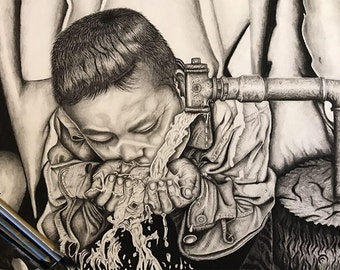 Charcoal Thirsty child, Charcoal Drawing, Charcoal Sketch, Poor Child Charcoal Drawing,