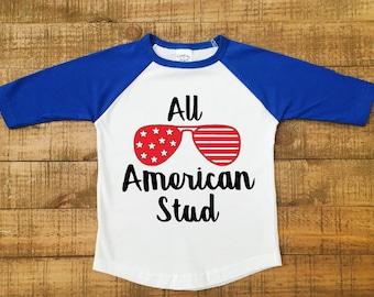 boys 4th of july shirt - toddler 4th of july shirt -boys baseball shirt -fourth of july shirt -4th of july baseball shirt -all american stud