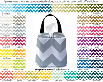 Auto Sneeze Box - Chevron - PICK YOUR COLOR - Car Accessory Automobile Caddy Tissue Case Zig Zag zigzag