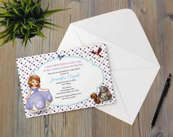 Instant Download - Princess Sophia the First Woodland Animals Whimsical Birthday Shower Party Invitation Template