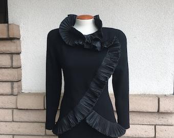 Vintage William Travilla Evening Formal Dress 1980s Designer LBD Small