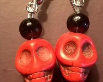 Red Skull Earrings Halloween Jewelry Cute Gift Idea