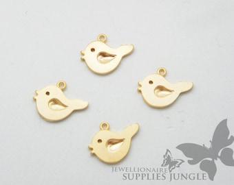 P217-MG// Matt Gold Plated Lovely Bird Pendant, 4pcs