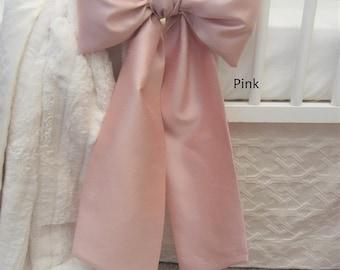 CRIB BOW: neutral baby bedding, baby girl crib bedding, faux silk crib bow, curtain tie back, nursery decor, Custom Made to Order