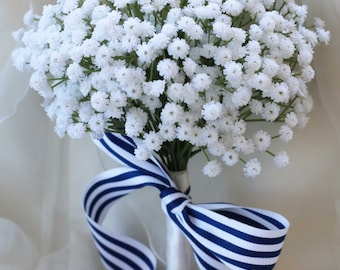 Real touch babies breath wedding bouquet.   Artificial real touch white babies breath.
