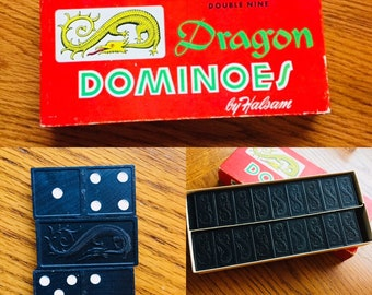 Double Nine Dragon Dominoes by Halsam Vintage Dragon Dominoes No. 920