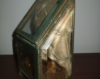 Old antiquitie jewels box Napoleon III late XIX box old Golden brass bevels collection silver luxury jewelry box