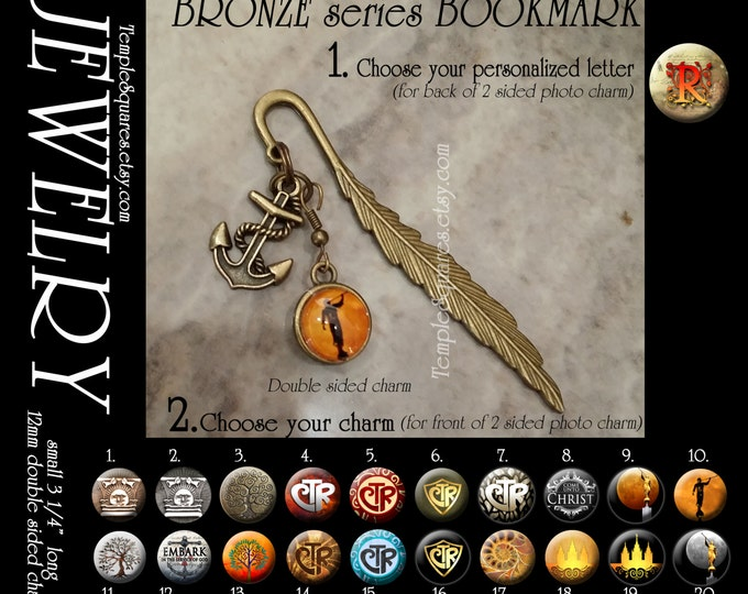 LDS Jewelry Bronze Feather Bookmark with Anchor Charm, Monogram, and Photo Charm.  DIY Jewelry Kit or assembled. YW or Super Saturday Craft