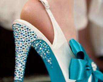 Marilynne Bow And Crystal Detail Shoe Decoration, Custom Design Shoes, Bespoke Bridal Shoes, Crystal Bridal Shoes,