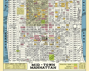 Midtown Manhattan New York 1950 Map Poster Vintage Stores Hotels Theaters Parks Times Square Empire State Bldg Rockefeller Center Broadway