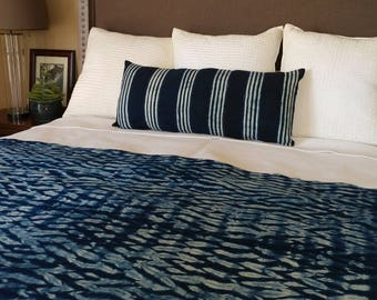 Unique Indigo Throw with Fringe