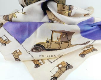 Old Cars Scarf - Mother's Day Gift  - Gift for Women - Vintage Square Scarf - Vintage Cars Scarf - Wall Decor Scarf - Scarf for Man