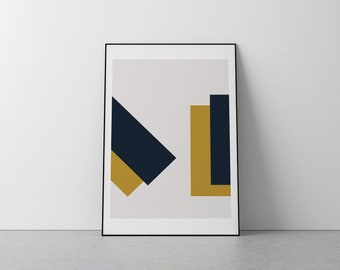 Navy Blue and Gold Yellow Domino Contemporary Geometric Print A3