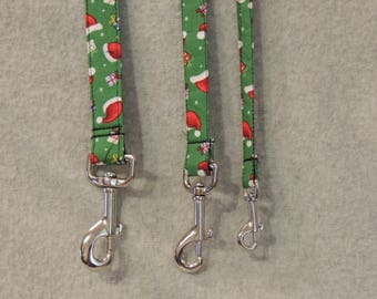 4 Foot Dog Leash You pick Size Santa Hats and Presents