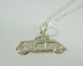 Ford Coupe Hot Rod Jewelry Hot Rod Necklace Silver 34 Ford Coupe Pendant Necklace