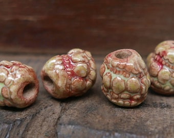 Stoneware Ceramic Tubular Texture Beads Red Yellow Green Handmade Pottery