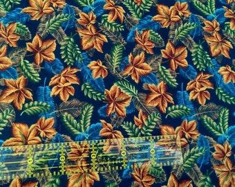 Cotton Fabric, 100% Cotton Fabric, Fall Leaves Print,