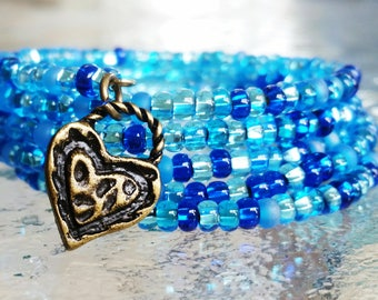 Aqua mix glass bead memory wire bracelet