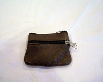Vintage brown leather coin purse, 3 pockets, c. 1960s