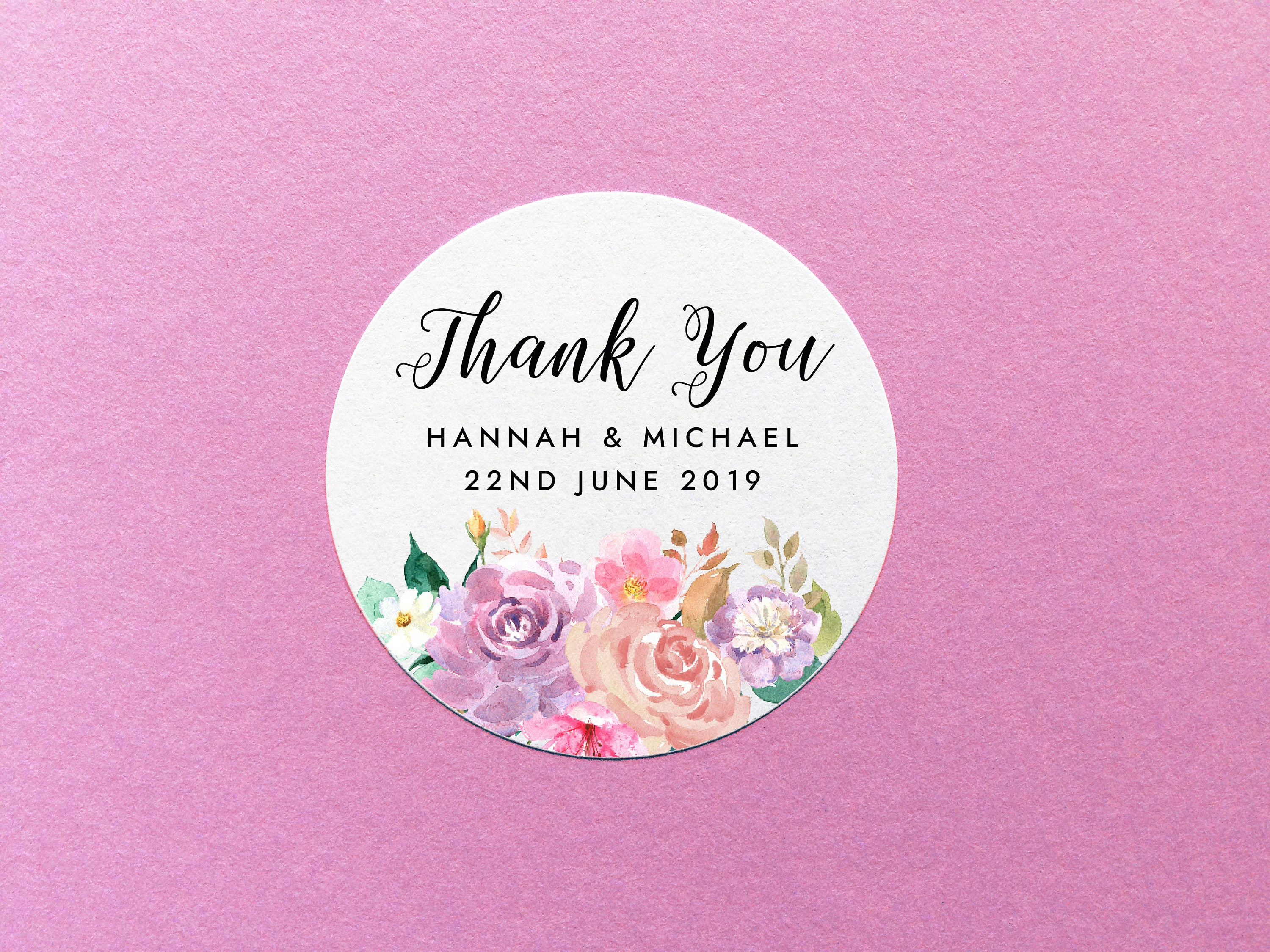 Wedding Thank You Stickers Personalized Floral Thank You