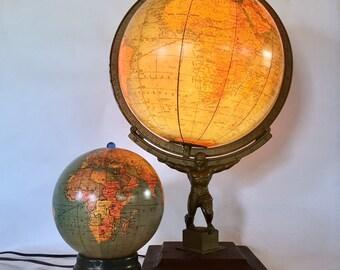 Rare Illuminated World Globe Labeled in French; Circa 1946 / Lighted Glass Globe / Vintage Globe with Atlas Base