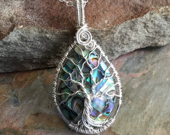 PETITE/MINI/SMALL Abalone Tree of Life Necklace in 99.9% fine silver. Wire Wrapped Abalone Tree of Life Pendant Necklace, Abalone Necklace