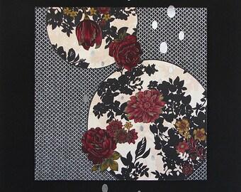 Moonlit I ~ Framed textile art, botanical, moon