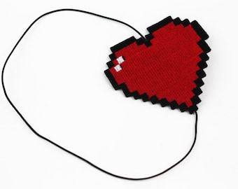 Pixel Heart Headband, Retro Gaming Inspired, Other Colour Choices