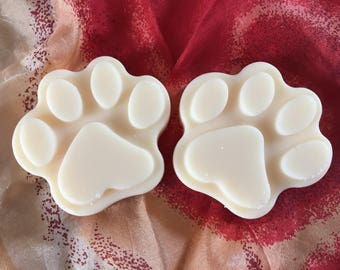 Scented Soy wax melts , Paw Print Melts, highly scented,natural wax, wax tarts, choose your scent .