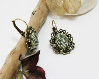 Retro earrings. sleeper bronze lace. fabric leaves stripes