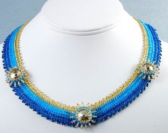 Blue Gold Swarovski Necklace, Sunshine  Beadweaving Necklace,  Free Shipping, OOAK