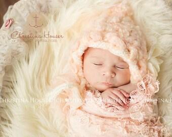 Cream Mongolian Faux Fur Nest Photography Prop Rug Newborn Baby Toddler 27x20