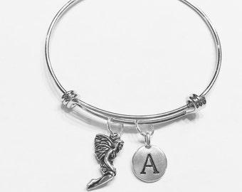 Initial Bangle Bracelet, Gift For Her, Fairy Bracelet, Fantasy Mythical Bangle, Daughter Niece Gift Bangle Charm Bracelet