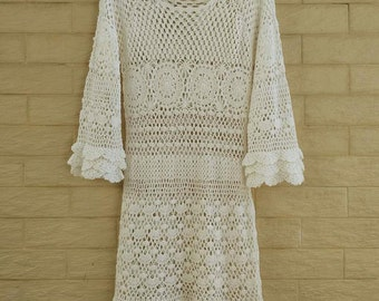 White Crochet Dress Women Boho Bohemian Hippie Gypsy Handmade