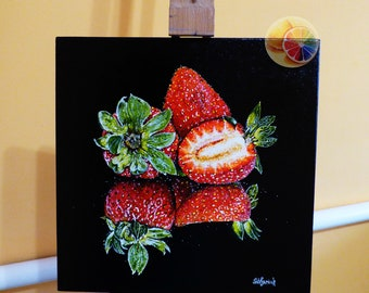 Strawberries, Strawberry Painting, Strawberry Art, 30x30 Centimeters, Original Signed Artwork On Canvas, Kitchen Wall Art, Dining Room Decor