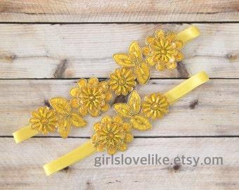 Yellow  Beaded  Flower Lace Wedding Garter Set, Yellow Bridal Garter, Keesake Garter, Toss Garter