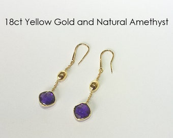 18ct 18K 750 Yellow Gold Natural Amethyst Hook Earrings Jewellery - PS13