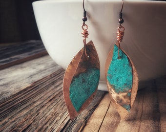 Copper and Patina Leaf Earrings