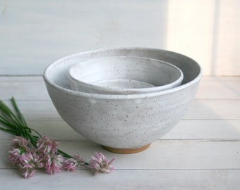 Set of Three Rustic White Speckled Matte Glaze Ceramic Nesting Bowls Handmade Pottery Ready to Ship Made in USA